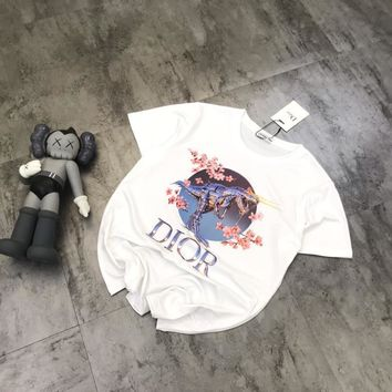 """Dior"" Women Fashion Cherry Blossoms Tyrannosaurus Rex Print Short Sleeve T-shirt Tops  Tee"
