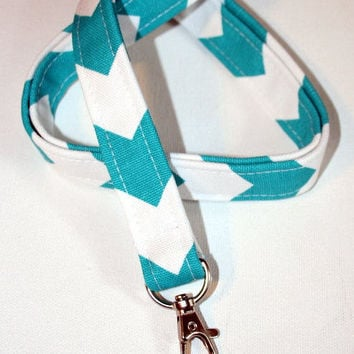 Lanyard  ID Badge Holder -  turquoise / Aqua / teal  -  Chevron zigzag Zig zag  - Lobster clasp and key ring