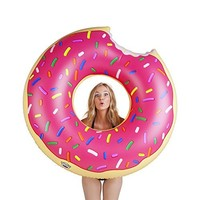 Play Platoon Jumbo Donut Pool Float - Gigantic Pink Donut Inflatable - Fun for All Ages