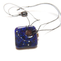 Phosphorescent Little Dipper on deep blue marble, constellation fused glass necklace, metal free hypoallergenic jewelry