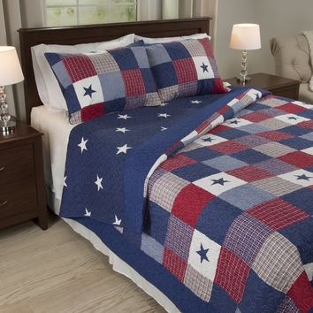 Quilted Blanket Lightweight All American Patchwork Stars Printed Pattern Bedspread Cover with Shams