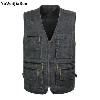 YuWaiJiaRen Oversize 7XL Multifunction Men Vest With Many Pockets Quick Dry Sleeveless Waistcoat Travel Clothes Photography Vest