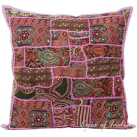 """20"""" Purple Throw Pillow Cushion Cover with Floral Embroidery"""