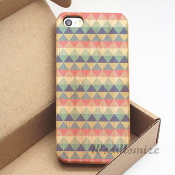 Colorful triangular pattern wood case - iPhone 5C iPhone 5S 5 iPhone 4S 4 Wood cover, Bamboo, Cherry wood, FREE screen protector - A75