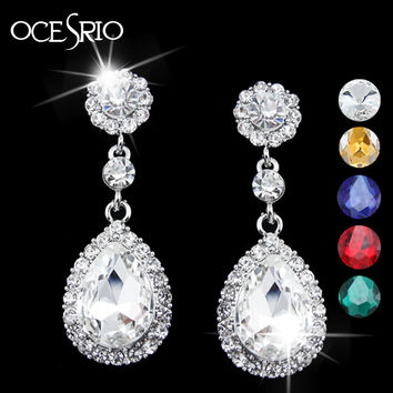 Ocesrio Trendy Silver Plated Crystal Drop Earrings Women Ers-g53