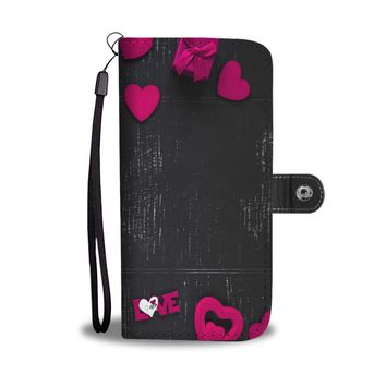 Cute chalkboard and hearts design phone case, wallet