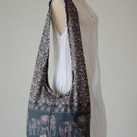 Smoky Gray - Bohemian Hippie Elephant Printed Cotton Crossbody Bag Sling Handmade Shoulder Bag Boho Hobo Messenger Bag Purse E161