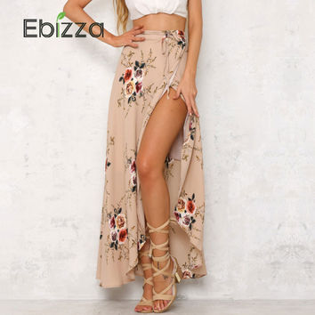 Ebizza  Floral Print Irregular Split Long Skirts Women Summer Elegant Beach Maxi Skirt Boho High Waist Asymmetrical Skirt