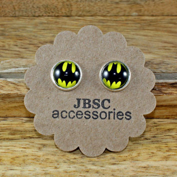 BATMAN, SUPERHERO Stud earrings , Cabochon, Unique , FUN studs