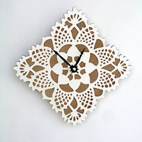 white square doily clock