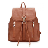 Brown Drawstring Leather Backpack