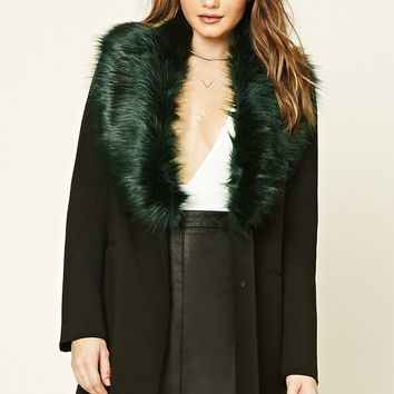 Faux Fur-Lined Coat