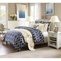 Strathmore Navy Blue Comforter Set - Queen Size