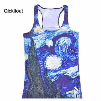 Qickitout Spring New Women t-shirt Tops Van Gogh's Starry Night Painting Camisole Women's Clothing New New