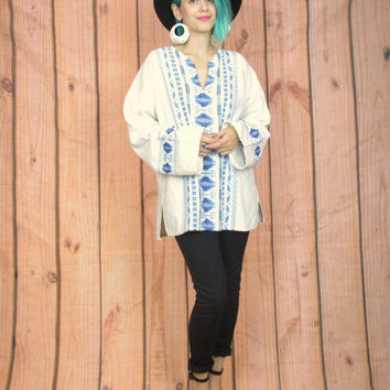 60s 70s White Embroidered Hippie Blouse Guatemalan Tunic Folk Peasant Top Blue Floral Cotton Long Sleeve Shirt (L/XL)