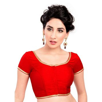 Designer Indian Traditional Red Brocade Silk Padded  Half Sleeves Saree Blouse Choli (Co-193Sl)