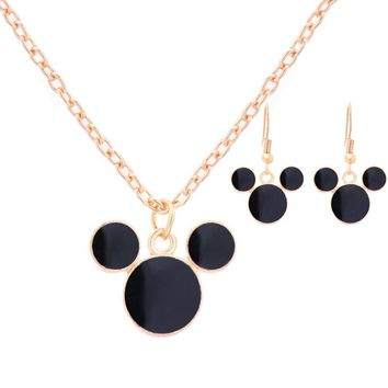 Hottest 2 Pcs Mickey Mouse Gold-color Personalized Necklace and Earrings Set Party Women Anniversary Jewelry Set Accessories
