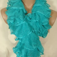 Ruffle Scarf, Frilly Scarf, Knitted Ruffled Scarf (Turquoise) for Women by Arzu's Style