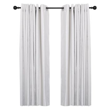 """Curtain Rod with Round Finials, Adjustable Length 28-48"""", Black"""