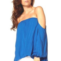 Strapless Off Shoulder Long Sleeve Royal Top