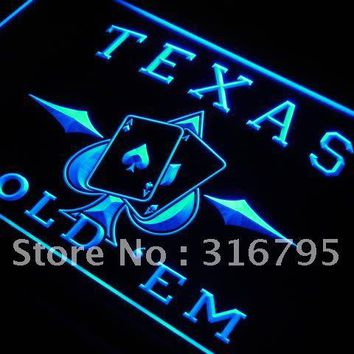 s217 Texas Hold'em Poker Casino LED Neon Light Sign On/Off Switch 7 Colors 4 Sizes