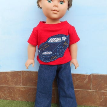 Car T-shirt and Blue Jeans for 18 Inch Boy Dolls, Red Doll T shirt and Blue Jeans, 18 Inch Boy Doll Clothes