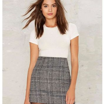 Brandy Melville Sexy High Waist Plaid Casual Women Mini Short Skirt