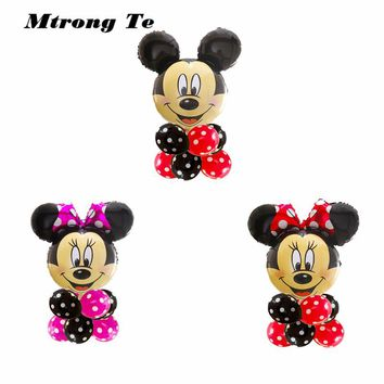 9pcs/lot Minnie Mickey Mouse head Happy Birthday Foil Balloons Decoration Cartoon Party supplies 2.8g wave point latex Balloon