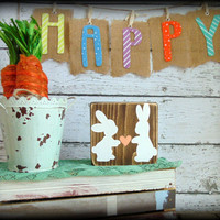 Bunny Sign, Easter Decor, Spring Plaque, Rustic Wooden Sign, Country Home Decor,Small Sign,Affordable Gift,Gifts Under 20,Primitive Wall Art