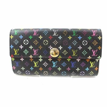 Authentic Louis Vuitton Long Wallet Portefeuille Sarah Multicolor Black 18374