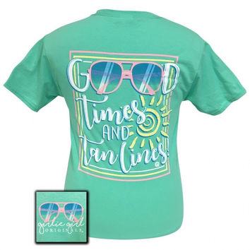 Girlie Girl Preppy Good Times & Tan Lines Mint T-Shirt
