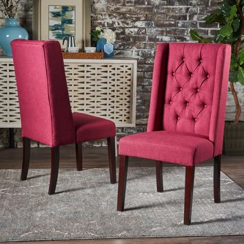 Blaine Tufted Wing Back Fabric Dining Chairs (Set of 2)