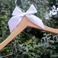 Personalized Wedding Hanger, Custom Bridal Hanger, Custom Bridal Hanger, Bride Name Personalized Custom Bridal Hanger, Bridesmaid Hanger