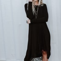Lace Trimmed Long Sleeve Tunic Dress - Black