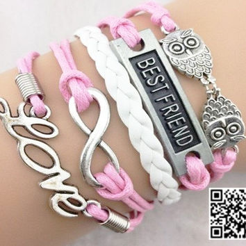 Ancient silver owls, best friends, infinite love pink wax rope charming bracelet, gifts for girls and boys