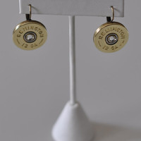 Remington 12 Gauge Shotgun Shell Bullet Earrings Swarovski Crystal French Lever Backs Antique Bronze Made in the USA