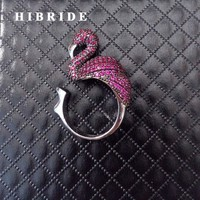 HIBRIDE Spinner Ring Red Cubic Zircon Flamingo Adjustable Women Rings Engagement Gifts R-164
