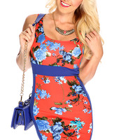 Orange Blue Two Toned Floral Print Scoop Back Summer Bodycon Dress