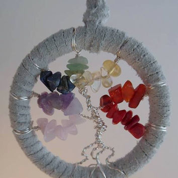 Rainbow Gemstone Chakra tree- extra small, white leather
