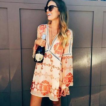 Floral Print Boho Mini Dress Summer Robe Loose Irregular Lace Hollow Out Patchwork Deep V Sexy Vintage Hippie Chic Beach Dresses