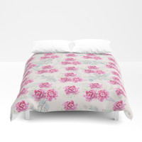 watercolor peonies Duvet Cover by sylviacookphotography