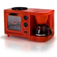 MaxiMatic EBK-200 Elite Cuisine 3-in-1 Multifunction Breakfast Deluxe Toaster Oven/Griddle/Coffee Maker, Red