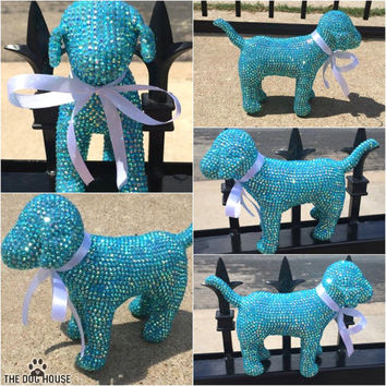 Tiffany Blue Turquoise Rhinestone Custom Victoria Secret Dog