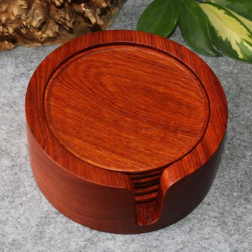 Authentic Burma rosewood rosewood coasters saucer cup bowl pad 6 round natural log increase