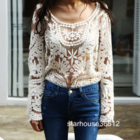 Semi Sexy Sheer Sleeve Embroidery Floral Lace Crochet Tee Top T shirt Vintage
