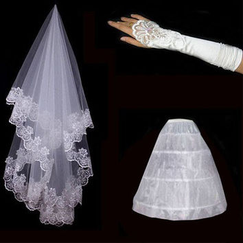 Cheap 2016 Wedding Veil Gloves Petticoat Bride Dress Wedding Accessories Bridal Gloves Women White Ivony Imilation Silk Flower