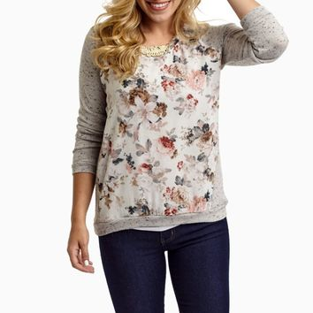 Heather-Grey-Ivory-Floral-Printed-Chiffon-Accent-Knit-Sweater