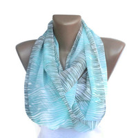 infinity scarf chevron,  turquoise and beige wave  , trendscarf , chiffon soft fabric , for her