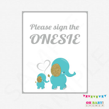 Please Sign the Onesuit, Elephant Baby Shower, Teal Blue and Gold, Guestbook Alternative, Mom and Baby Elephant, Baby Boy, Download EL0004-TG