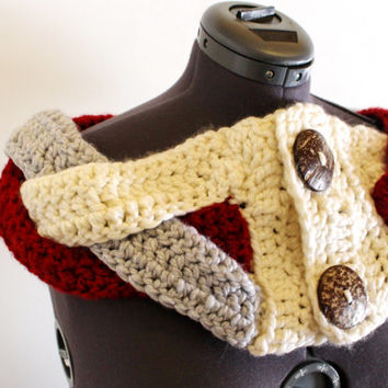 Crochet Circle Infinity Cowl Shawl, Coconut Button Eternity Loop Scarf Multicolour Braided